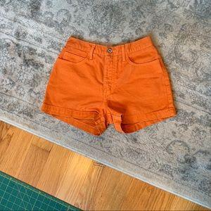 Orange High Rise Shorts